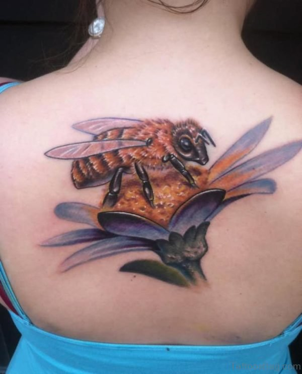 Bee And Flower Tattoo On Girl Upper Back