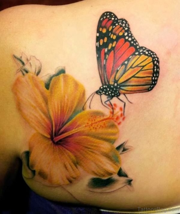 3D Butterfly With Flower Tattoo