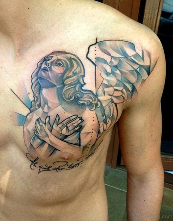 Abstract Angel Chest Tattoo