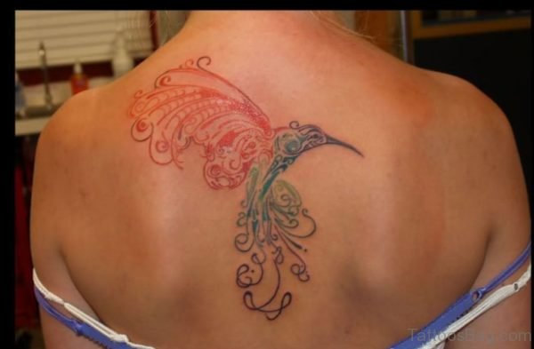 Abstract Hummingbird Tattoo On Back