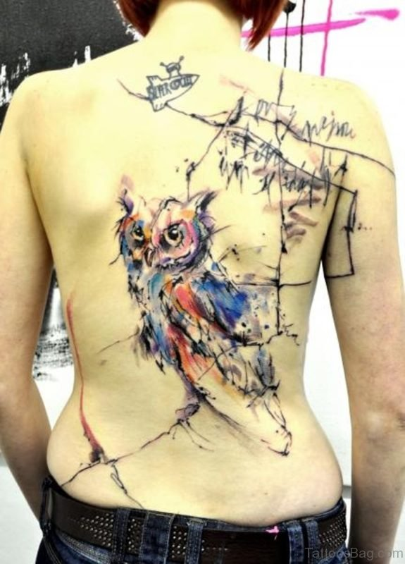 Abstract Owl Tattoo On Back