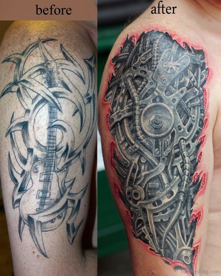 92 Innovative Bio Mechanical Tattoos On Shoulder