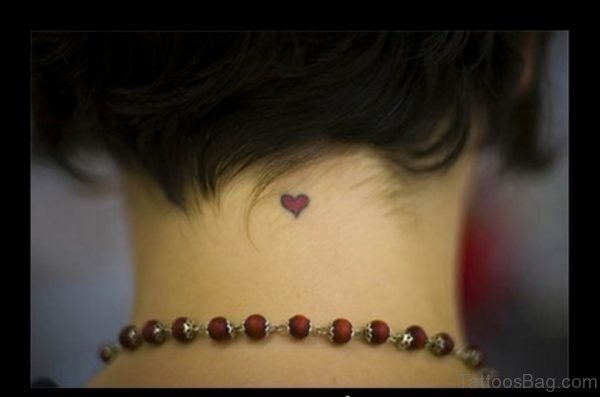 Adorable Red Heart Tattoo On Neck