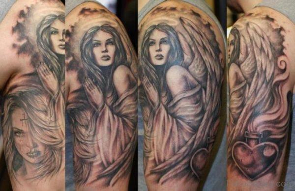 Adorable Angel Shoulder Tattoo