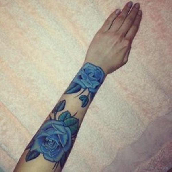 Adorable Blue Rose Tattoo