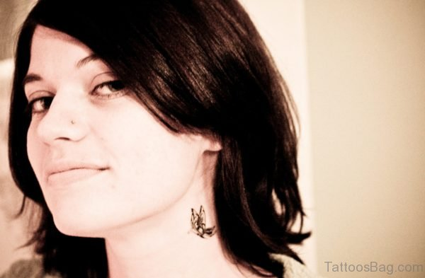 Adorable Butterfly Neck Tattoo Design