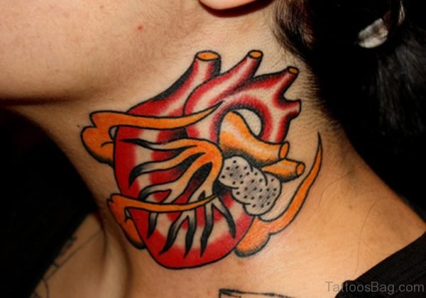 Adorable Colored Heart Tattoo On Neck