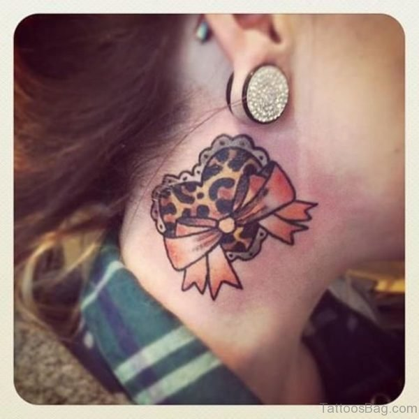 Adorable Heart Tattoo On Neck