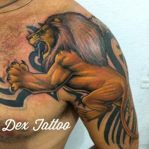 60 remarkable lion tattoos for shoulder. Black Bedroom Furniture Sets. Home Design Ideas