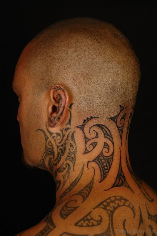 Adorable Neck Tattoo For Men