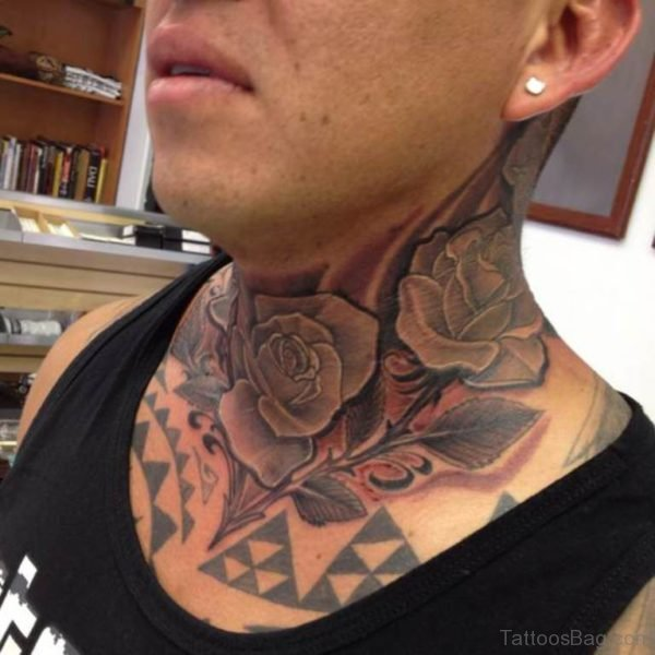 Adorable Roses Tattoo On Neck