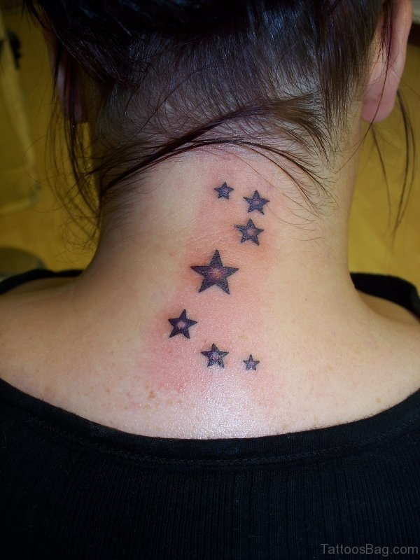Adorable Stars Neck Tattoo Design