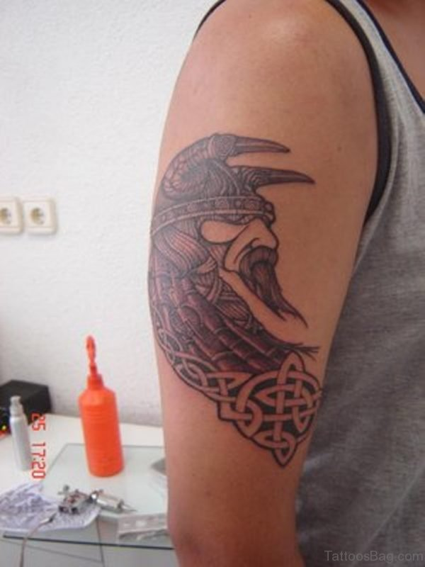 Adorable Viking Shoulder Tattoo Design