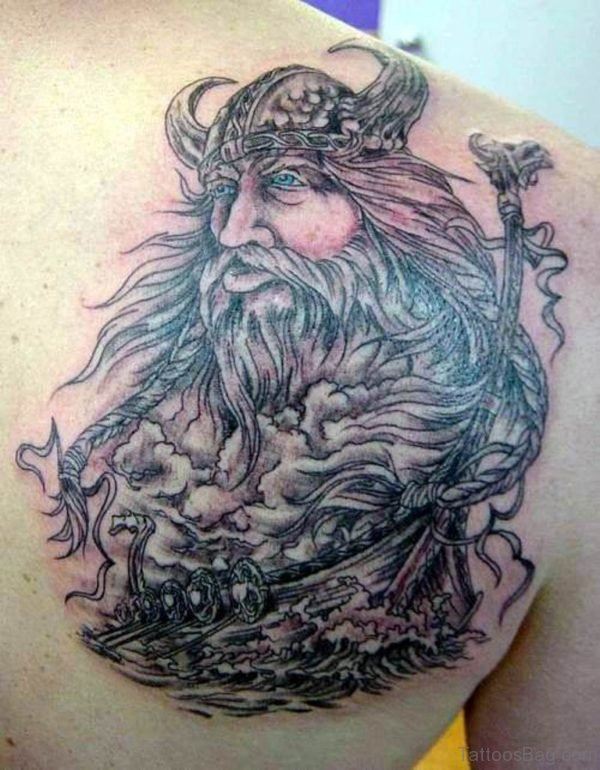 Adorable Viking Tattoo On Shoulder Back