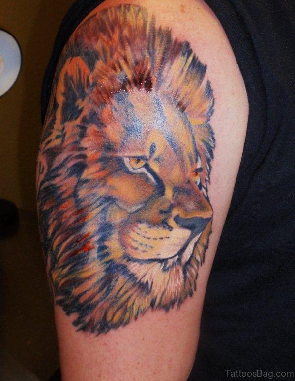 African Lion Shoulder Tattoo Design
