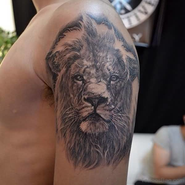African Lion Shoulder Tattoo