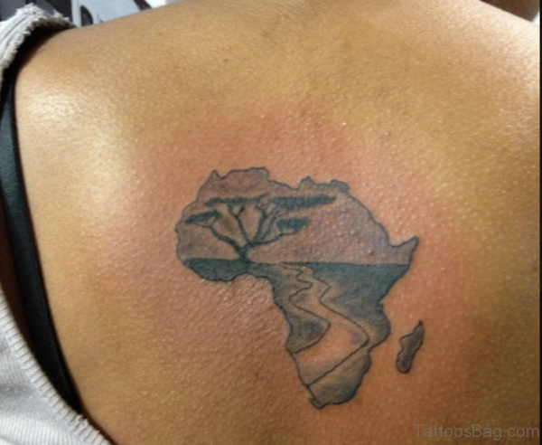 African Continent Map tattoo On Back