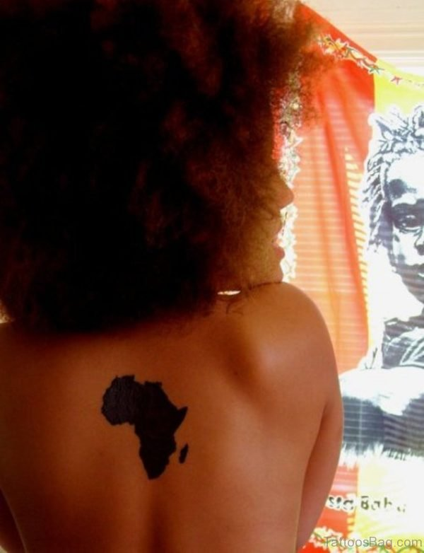 African Map Tattoo On Back