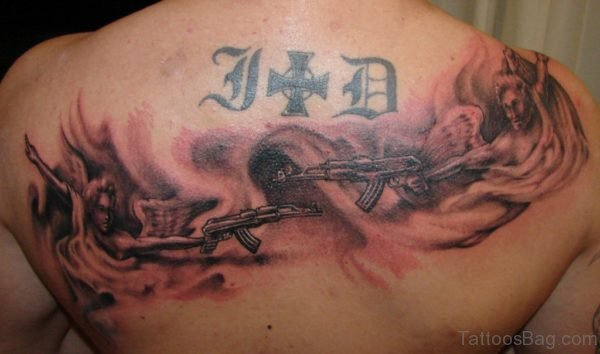 Ak 47 Gun And Angel Tattoo On Upper Back