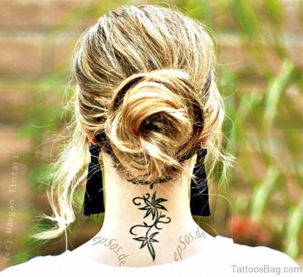 Amazing Flower Neck Tattoo