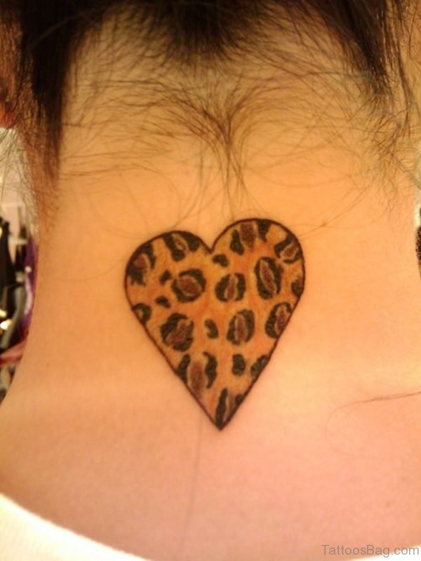 Amazing Heart Tattoo On Neck