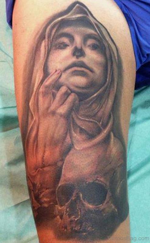 Amazing Mary Shoulder Tattoo