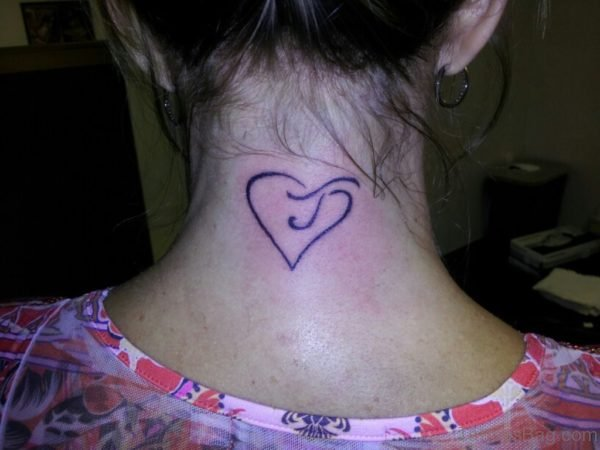 Amazing Simple Heart Neck Tattoo