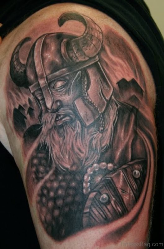 Amazing Viking Shoulder Tribal Tattoo