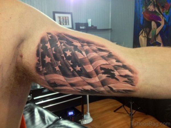 Amazing American Flag Tattoo On Bicep