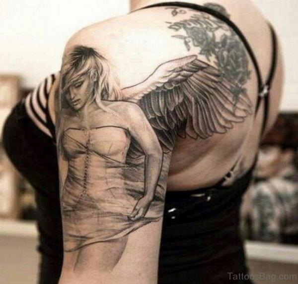 Amazing Angel Shoulder Tattoo Design