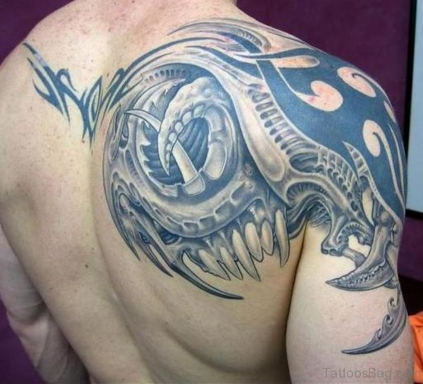 Amazing Biomechanical Tattoo On Back