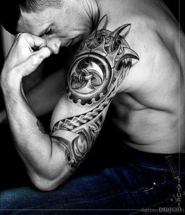 Amazing Black And White Tattoo For Men