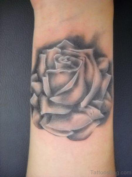 Amazing Black Rose Tattoo On Wrist