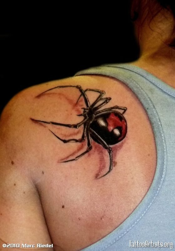 Amazing Black Spider Tattoo