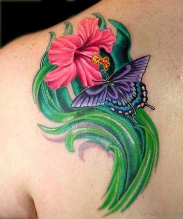 Amazing Butterfly And Flower Tattoo