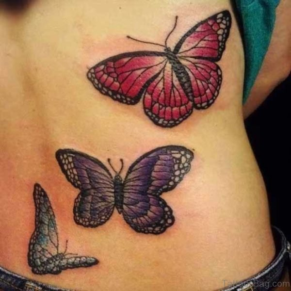 Amazing Butterfly Tattoo On Lower Back