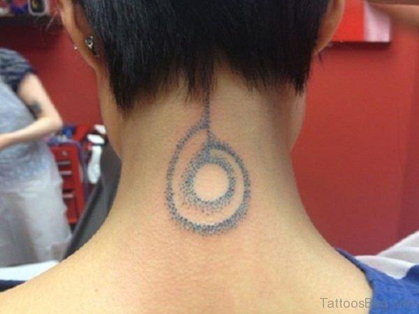 Amazing Circle Tattoo On Neck