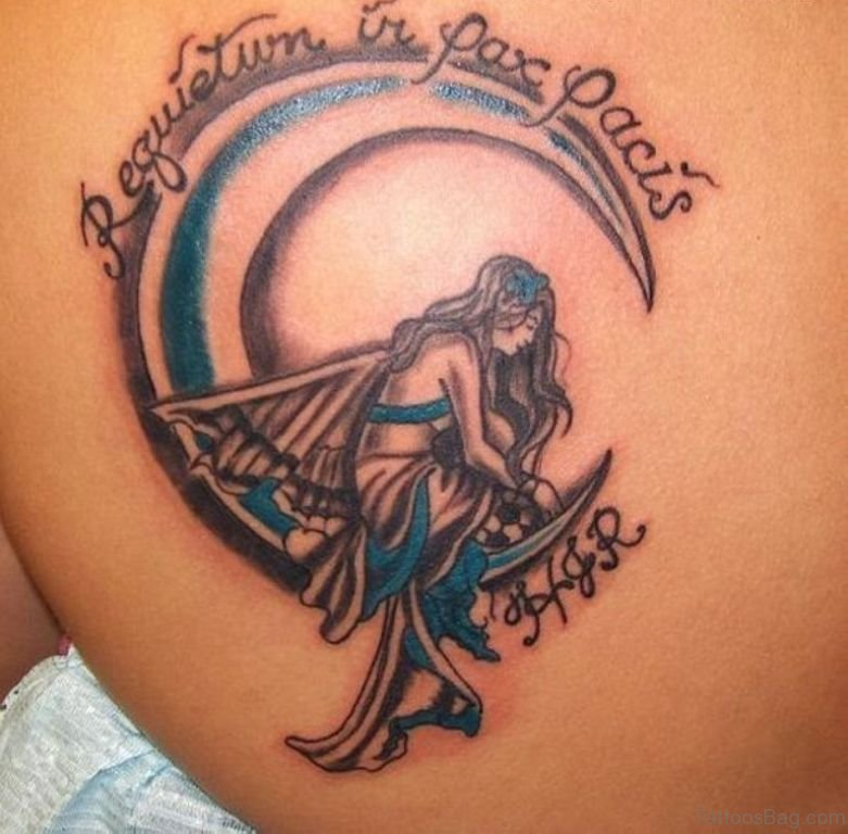 60 most amazing memorial angel tattoos for back for Memory tattoos pictures