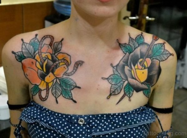 Amazing Colorful Roses Tattoo