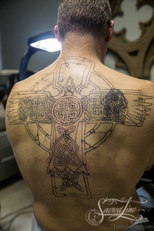 Amazing Cross Tattoo Design On Back