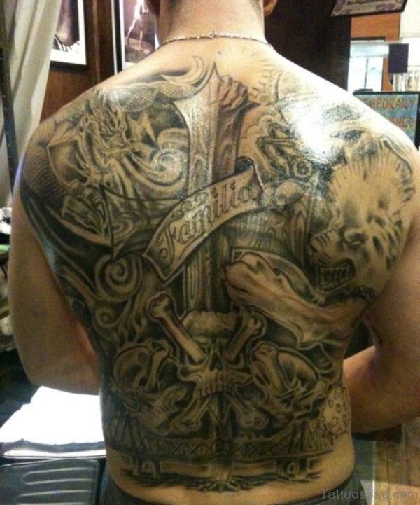 Amazing Cross Tattoo On Full Back