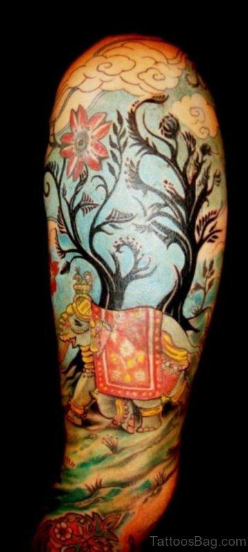 Amazing Designer Elephant Tattoo