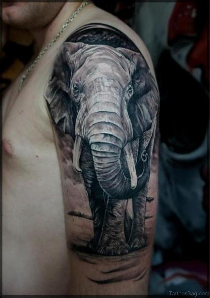 48 cool elephant tattoos on shoulder. Black Bedroom Furniture Sets. Home Design Ideas