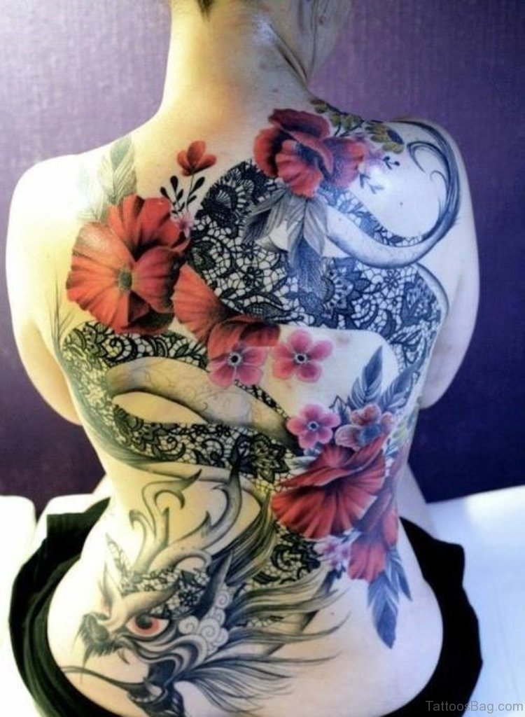 Dragon Tattoo With Flowers