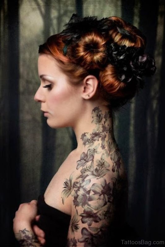 Amazing Flower Vine Tattoo