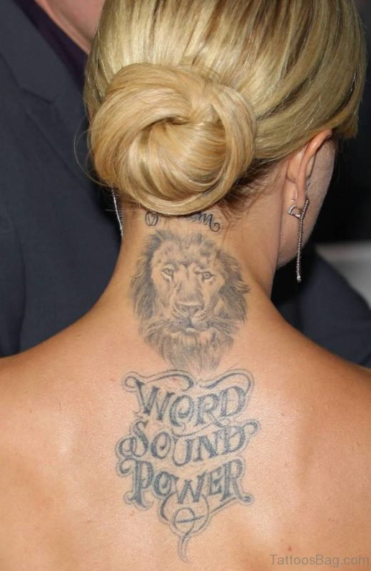 Amazing Grey Lion Face Tattoo