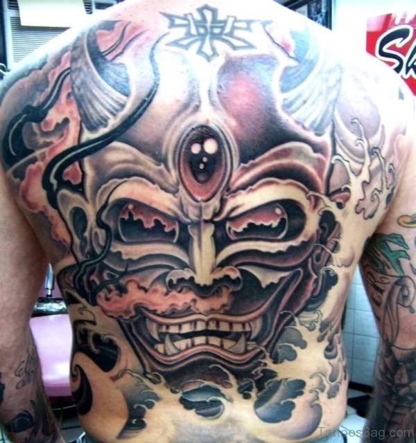 Amazing Horror Tattoo On Man Full Back
