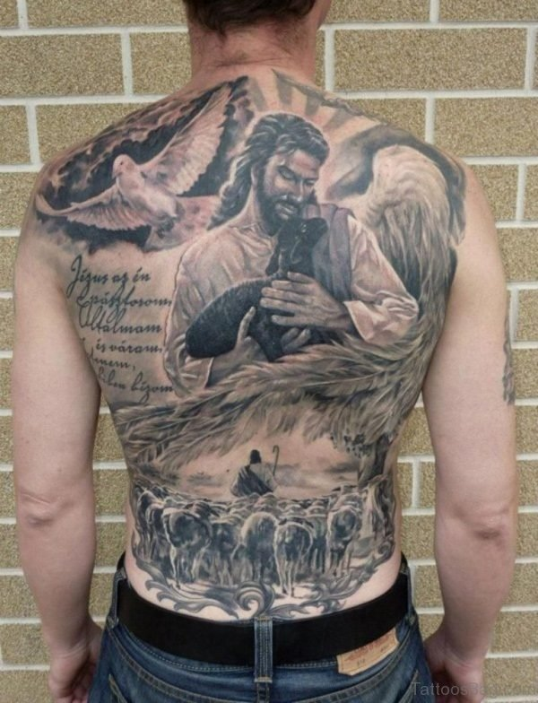 Amazing Jesus Tattoo On Full Back