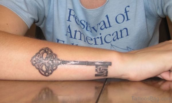 Amazing Key Tattoo On Wrist