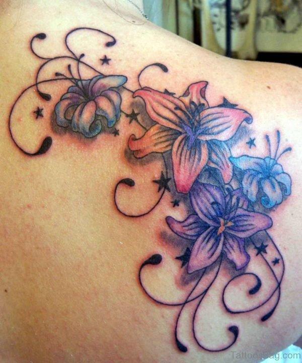 Amazing Lady Flower Shoulder Tattoo